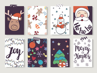Christmas and New Year gift tags and cards. Hand drawn doodle design elements and calligraphy. Handwritten modern lettering.