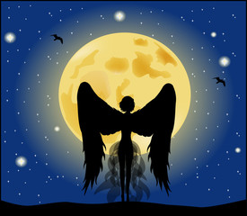 silhouette of a girl angel on moon background