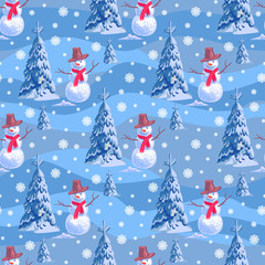 Seamless background on New Year s theme. A lot of snowmen and christmas tree blue stripe snowdrift.