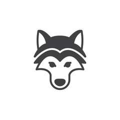 Wolf head icon vector, filled flat sign, solid pictogram isolated on white. Symbol, logo illustration