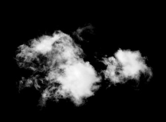 whtie clouds isolated on black background