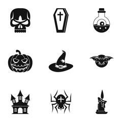 Resurrection of dead icons set. Simple illustration of 9 resurrection of dead vector icons for web