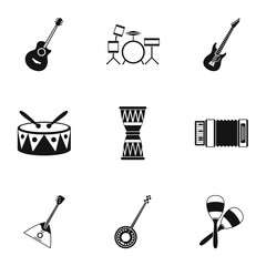 Device for music icons set. Simple illustration of 9 device for music vector icons for web