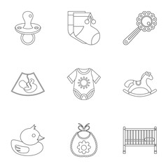 Child icons set. Outline illustration of 9 child vector icons for web