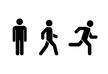 Man stands, walk and run icon set . People symbol . Vector illustration Wall mural