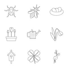 Garden icons set. Outline illustration of 9 garden vector icons for web