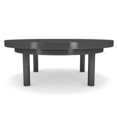 Black Round Table. 3D render isolated on white. Platform or Stand Illustration. Template for Object Presentation.