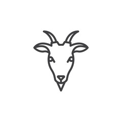 Goat head line icon, outline vector sign, linear pictogram isolated on white. Symbol, logo illustration