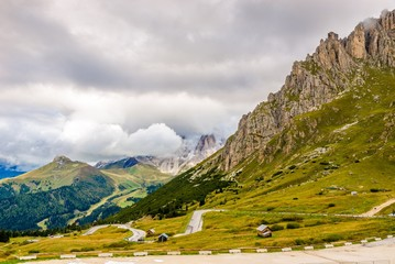 Wall Mural - Road to Pordoi Pass (2239m) in Dolomites of Italy