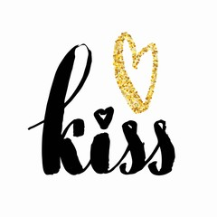 Golden glitter heart print with kiss hand lettering, on white background. Can be used for Valentine's Day design
