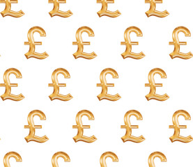 Seamless pattern with gold symbol pound on white background.