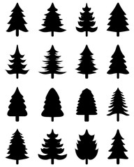 Black silhouettes of Christmas tree icons