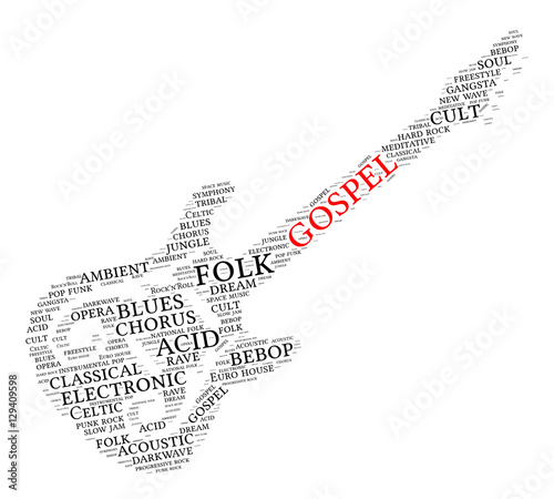 Gospel  Word cloud, guitar, white background  Music concept