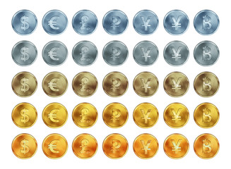 Set of metal coins with currency symbols. Dollar, euro, yen, yuan, pound, bitcoin, ruble isolated on white background.