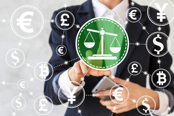 businesswoman presses balance sign. Businessman toched scale button. Network bank currency. Money, judge, business, security, internet, technology. Justice icon, court, tribunal, banking, finance.