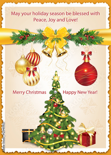 Classic Message For Winter Holidays Christmas And New Year Greeting