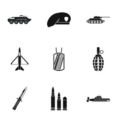 Equipment for war icons set. Simple illustration of 9 equipment for war vector icons for web