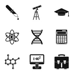 Scientific research icons set. Simple illustration of 9 scientific research vector icons for web