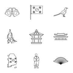 South Korea icons set. Outline illustration of 9 South Korea vector icons for web