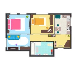 Apartment Floor Plan with Furniture Top View. Vector