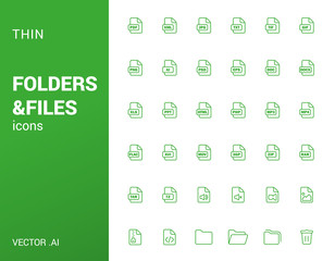 Pack of thin icons of folders and files.