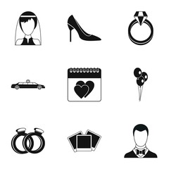 Marriage ceremony icons set. Simple illustration of 9 marriage ceremony vector icons for web