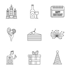 Birthday party icons set. Outline illustration of 9 birthday party vector icons for web