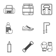 Sport icons set. Outline illustration of 9 sport vector icons for web