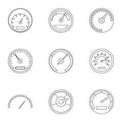 Speed measurement icons set. Outline illustration of 9 speed measurement vector icons for web