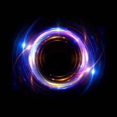 Abstract neon background. luminous swirling bunner. Glowing spiral. 