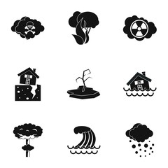 Natural emergency icons set. Simple illustration of 9 natural emergency vector icons for web