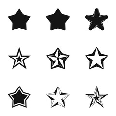 Figure star icons set. Simple illustration of 9 figure star vector icons for web