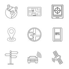 Navigation icons set. Outline illustration of 9 navigation vector icons for web