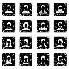 Avatars set icons in grunge style isolated on white background. Vector illustration
