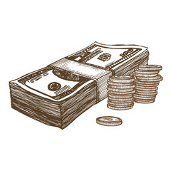 Money Hand Draw Sketch. Vector