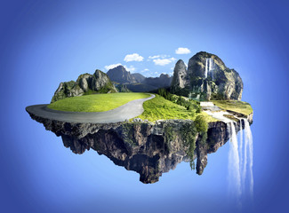 Amazing fantasy scenery with floating islands, water fall and fi