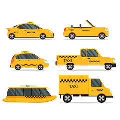 Taxi Service Car Set. Vector