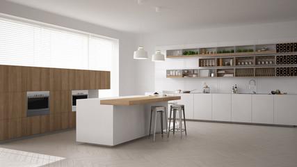 Scandinavian white kitchen, minimalistic interior design