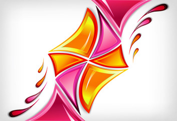 Splash in various pink colours . Vector background