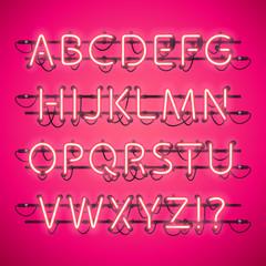 Glowing Neon Pink Alphabet