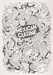 Cartoon cute doodles Mexican food illustration
