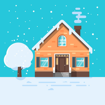 Vector flat style illustration of winter house with tree.