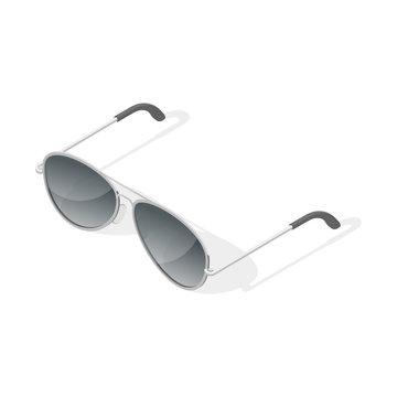 Isometric 3d vector illustration of aviator glasses.