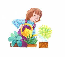 girl watering potted plants