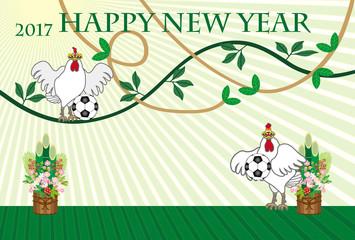 サッカーボールとニワトリのイラスト年賀状テンプレート