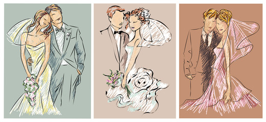 Wedding couples, bride and groom sketch set invitation vector illustration