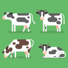 Vector flat style set of cow. Isolated on green background.