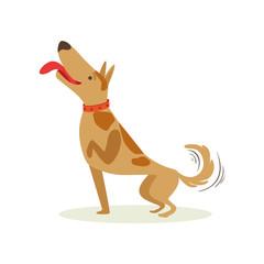 Well Trained Brown Pet Dog Striking A Pose, Animal Emotion Cartoon Illustration