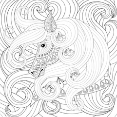 Adult coloring book with gorse head with long hairs, zentangle v