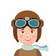 Young Boy Pilot Isolated In White Background. Retro Vector Illustration. Boy Pilot Hat. Brave Pilot. The Adventure Begins.